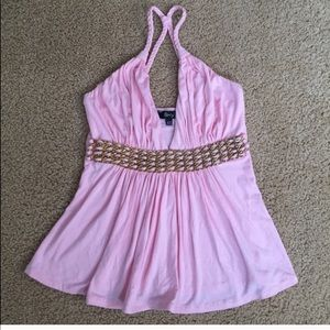 Sky Pink Top w/ Braided Leather & Chain Detail